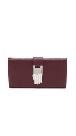 Opening Ceremony Pebble Leather Misha Rectangular Wallet - Mahogany
