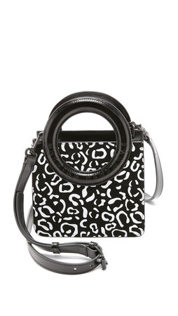 Opening Ceremony Rubberized Leopard Suede Lynx Cross Body Bag - Black Multi