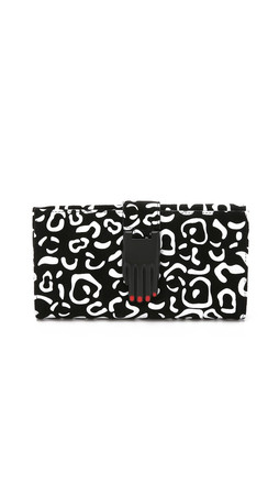 Opening Ceremony Rubberized Leopard Suede Misha Rectangular Wallet - Black Multi