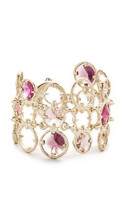 Oscar De La Renta Framed Crystal Bracelet - Magenta Multi