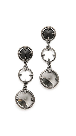 Oscar De La Renta Framed Crystal Long Earrings - Black/Gunmetal