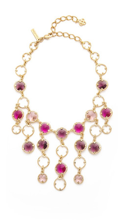 Oscar De La Renta Framed Crystal Necklace - Magenta Multi