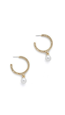 Oscar De La Renta Imitation Pearl Pave Hoop Earrings - Cry Gold Shadow
