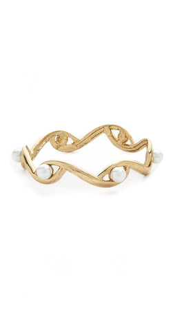 Oscar De La Renta Sea Swirl Imitation Pearl Bracelet - Light Gold