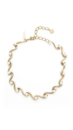 Oscar De La Renta Sea Swirl Imitation Pearl Necklace - Light Gold