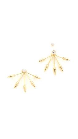 Pamela Love Five Spike Freshwater Cultured Pearl Earrings - Gold/Pearl