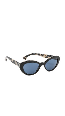 Prada Oval Cat Sunglasses - Black/White Havana/Blue