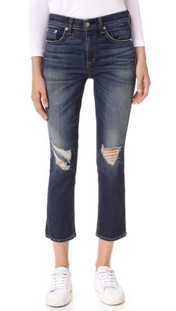 Rag & Bone/Jean 10-Inch Crop Jeans - Watts W Holes