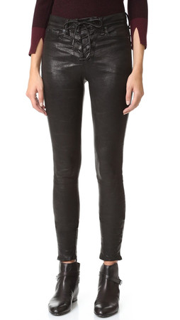 Rag & Bone/Jean High Rise Lace Up Leather Pants - Washed Black