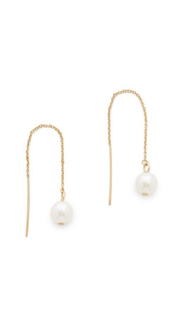 Rebecca Minkoff Bead Threader Earrings - Gold/Pearl