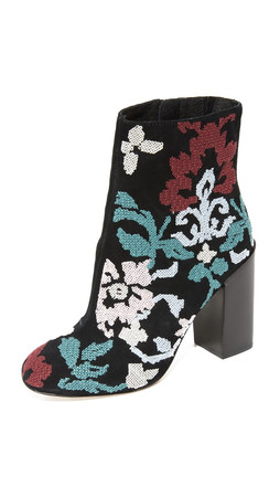 Rebecca Minkoff Bojana Embroidered Booties - Black