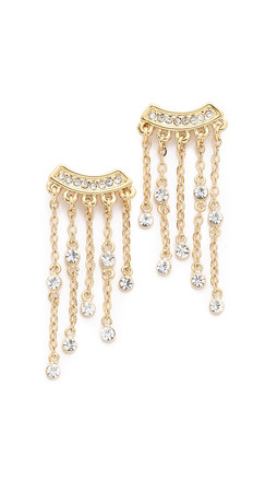 Rebecca Minkoff Crystal Fringe Earrings - Gold/Clear