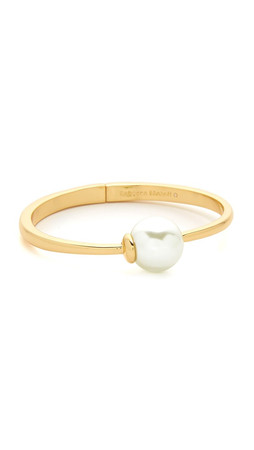 Rebecca Minkoff Imitation Pearl Hinge Bangle Bracelet - Gold/Pearl
