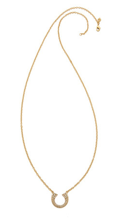 Rebecca Minkoff Safari Haze Double Tusk Necklace - Gold/Crystal