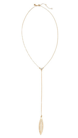 Rebecca Minkoff Safari Haze Leaf Y Necklace - Gold/Crystal