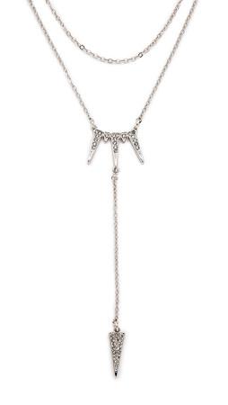 Rebecca Minkoff Tringle Drop Necklace - Silver/Clear