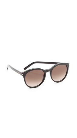 Saint Laurent Classic Preppy Round Sunglasses - Black/Brown Gradient