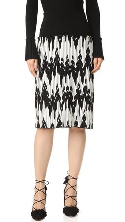 Salvatore Ferragamo Chevron Knit Skirt - Black/White