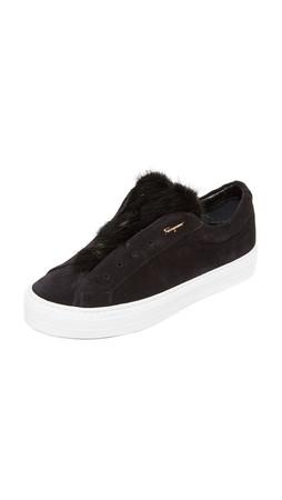 Salvatore Ferragamo Fur Sneakers - Nero