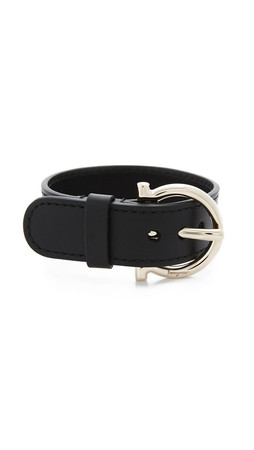 Salvatore Ferragamo Gancio Buckle Bracelet - Nero/Oro