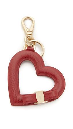 Salvatore Ferragamo Vara Bow Heart Keychain - Rosso