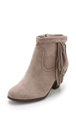 Sam Edelman Louie Suede Fringe Booties - Tan