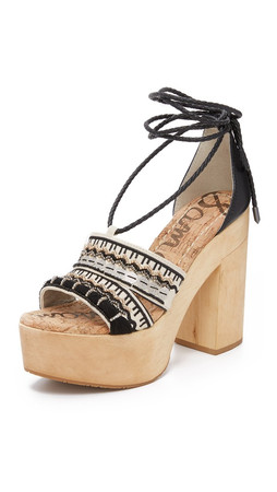 Sam Edelman Mel Platform Sandals - Black/White