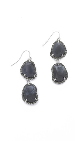 Sam Edelman Pave Stone Double Drop Earrings - Grey