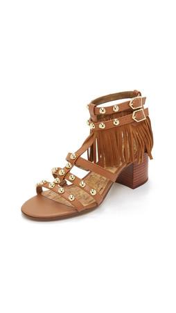 Sam Edelman Shaelynn Fringe Sandals - Saddle