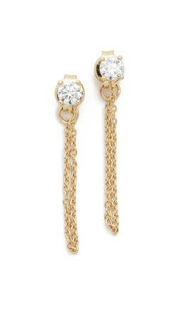 Shashi Solitaire Kelly Earrings - Gold/Clear