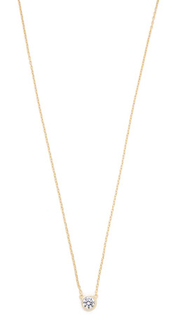 Shashi Solitaire Necklace - Gold/Clear
