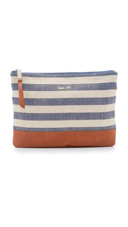 Splendid Grammercy Zip Pouch - Metallic Blue Stripe