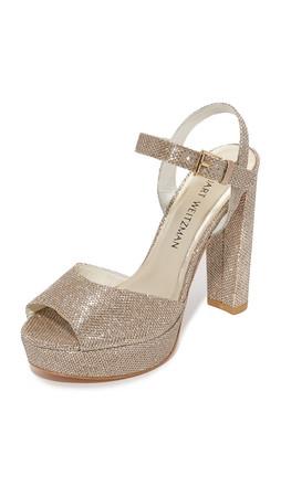 Stuart Weitzman Sashay Platform Sandals - Platinum