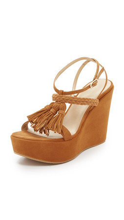 Stuart Weitzman Tassel Mania Wedge Sandals - Camel