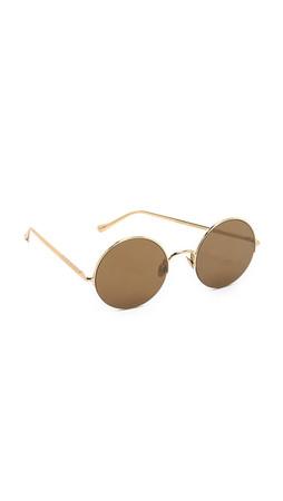 Sunday Somewhere Raine Flat Lens Sunglasses - Gold/Gold