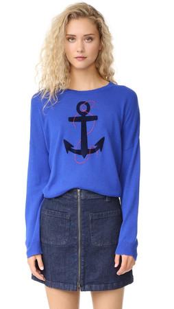 Sundry Anchor Crew Neck Sweater - Blue