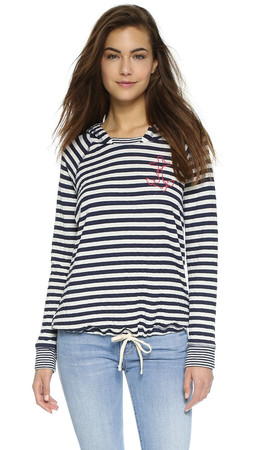 Sundry Little Anchor Tie Hoodie - White/Blue