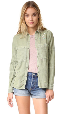 Sundry Paint Splashes Button Down - Pigment Olive