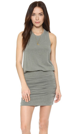 Sundry Ruched Sleeveless Dress - Pigment Olive