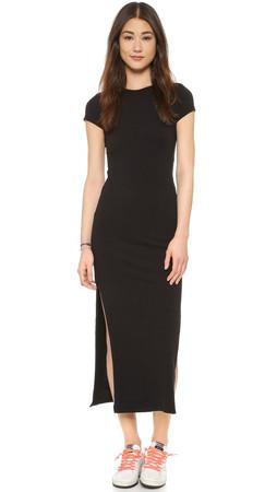 Sundry Slit Tee Dress - Black