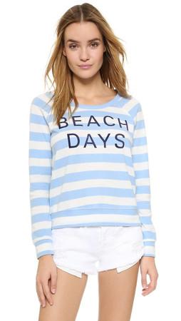 Sundry Sweater Knit Beach Days Pullover - Blue/White Stripe