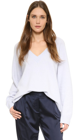 T By Alexander Wang Cashwool Deep V Sweater - Sky