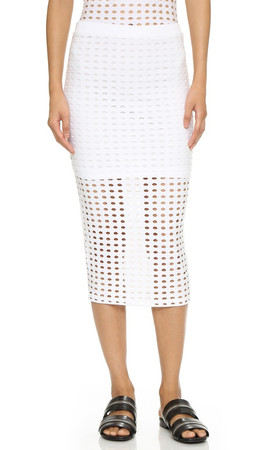 T By Alexander Wang Circular Knit Pencil Skirt - White