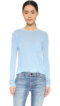 T By Alexander Wang Classic Cropped Long Sleeve Tee - Sky