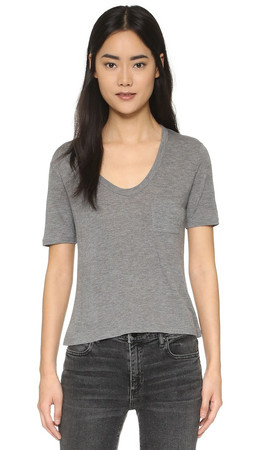 T By Alexander Wang Classic Cropped Tee - Heather Grey