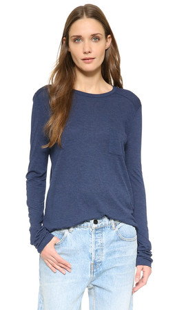 T By Alexander Wang Classic Long Sleeve Tee - Marine
