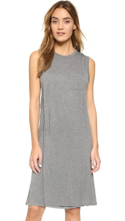 T By Alexander Wang Classic Overlap Dress With Pocket - Heather Grey