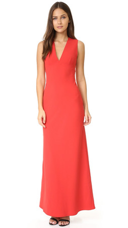 T By Alexander Wang Crepe Exposed Back Maxi Dress - Cherry