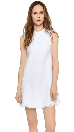 T By Alexander Wang Frayed A Line Dress - White