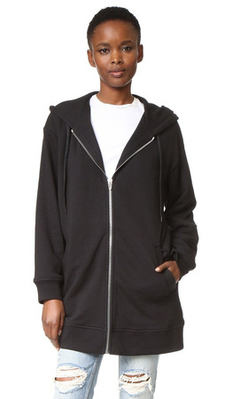 T By Alexander Wang Soft French Terry Long Zip Hoodie - Black